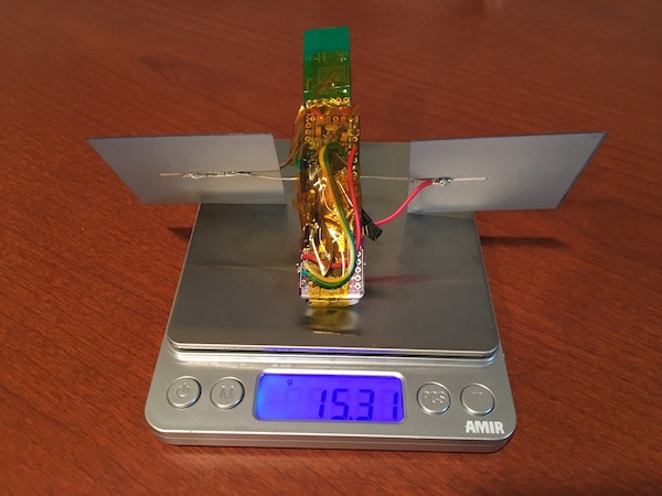 Photo of the payload on a scale - 15.31 grams